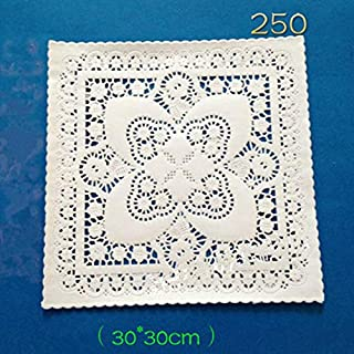 Tablemat - 250pcs 8 10 12 Inch White Square Paper Pad Hollow Of Flower Backing Lace Doyleys Placemat Wedding - Tools Baking Pastry Baking Pastry Placemat Round Silicon Cake Lace Paper Doil