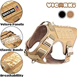 VICARKO Tactical Dog Harness, Dog Vest Harness, for Large and Medium Dogs, with No Pull Handle, Leash Clip, MOLLE System for Heavy Duty, for Walking, Hiking, Hunting, Brown