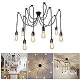 Lightess Lámpara de Techo Candelabro Lámpara Colgante Vintage Lámpara de Araña Industrial Iluminación Múltiple DIY Casquillo E27 8 Luces