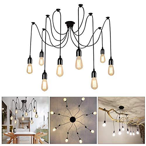 Lightess Lampadario Vintage per Soffitto, a Forma di Ragno con Bracci Pendenti, Massimo 60W per Ogni Lampadine E27×8