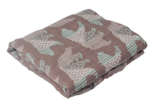 QzxBright Muslin Swaddle Blankets- Bear Print 47 x 47 inch Ultra Soft Bamboo Cotton Baby Swaddle Wrap, Burping Cloth & Stroller Cover, Gender Neutral Baby Girl or Baby Boy Blankets