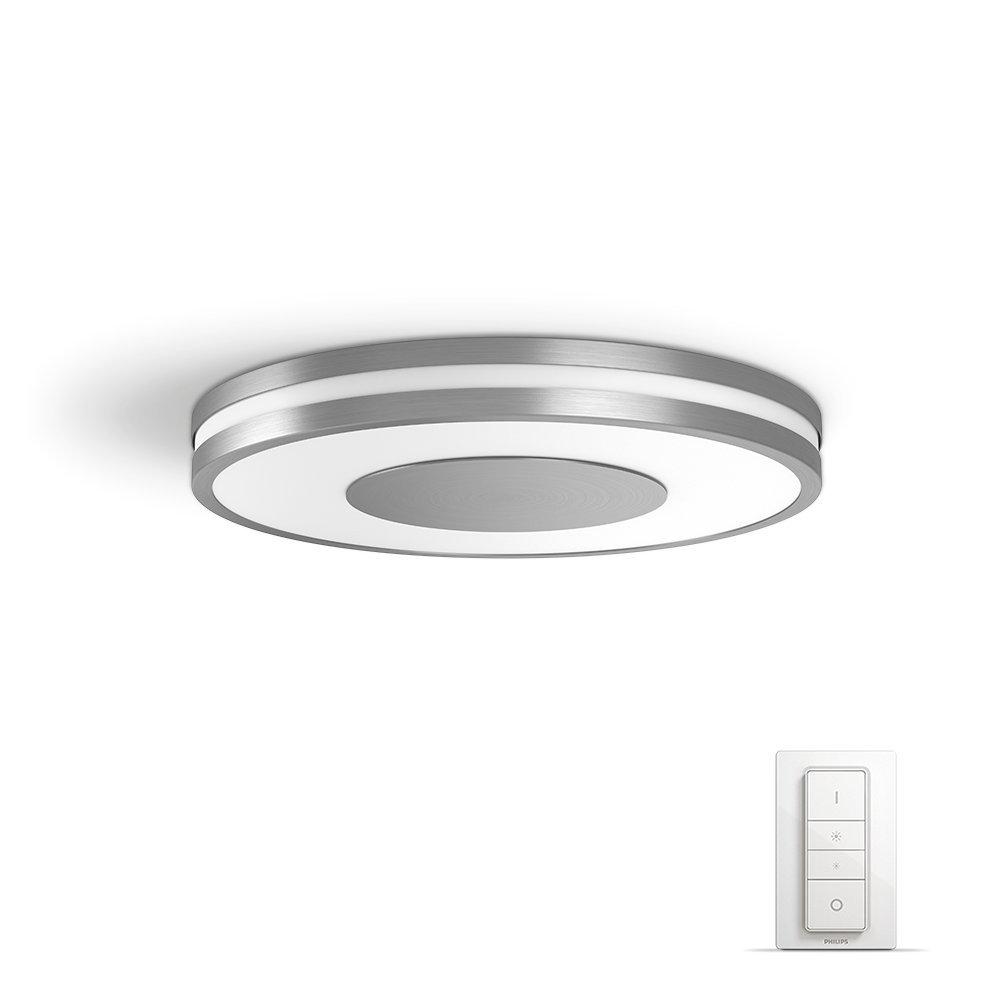 Philips Hue LEDシーリングライト、そのエンクロージャはすべて白色、調光スイッチはAmazon Alexa(および省エネプラグ)とも互換性のあるAppで制御できます