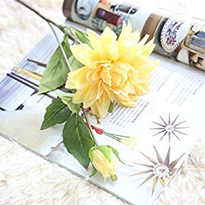 Artificial and Dried Flower Wedding Cloth Office Fake Plants Table Living Room Garden Home Decoration Dahlia Silk Festival Portable Artificial Flowers – ( Color: Yellow)