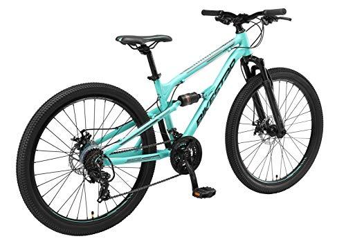 BIKESTAR Fully Aluminium Mountainbike Shimano 21 Gang Schaltung, Scheibenbremse 26 Zoll Reifen | 16 Zoll Rahmen Alu MTB Vollgefedert | Mint
