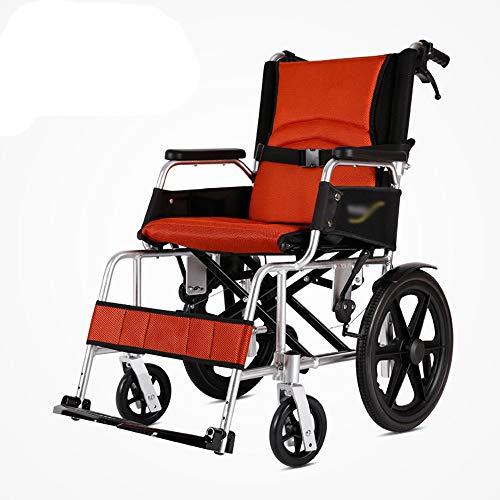 Kleiner Rollstuhl, Reiserollstuhl, faltbar und leicht, verstellbares Fußpedal, mit Griff, Ultraleicht ist nur 10,5 kg, 16 Zoll Hinterrad-orange