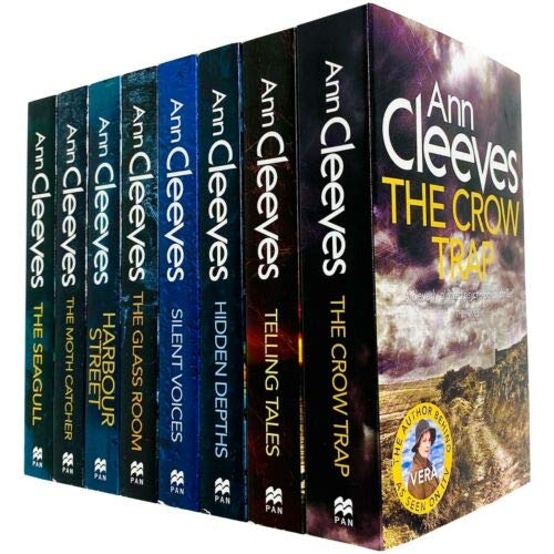 Ann Cleeves TV Vera Stanhope Series Collection 8 Books Set (Telling Tales, Harbour Street, Silent Voices, Hidden Depths, The Glass Room, The Seagull, The Moth Catcher)