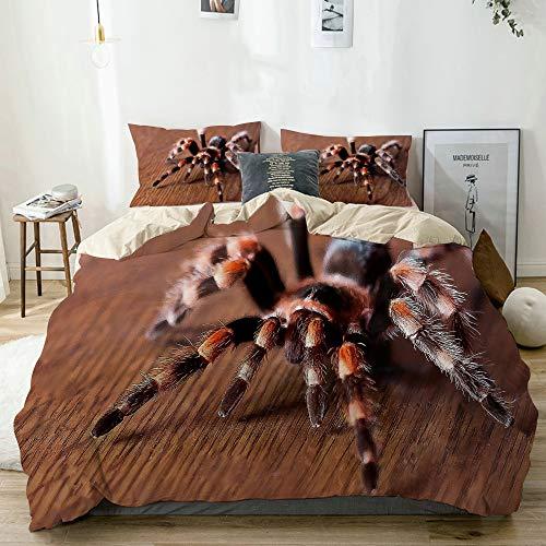 KOSALAER Bettwäsche Set,Süße Spinne,3 Teilig Bettbezüge Mikrofaser Bettbezug 135 x 200cm mit Reißverschluss und 1 Kissenbezug