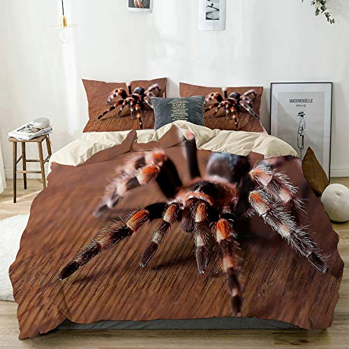 AMIGGOO Bettwäsche-Set Mikrofaser,Beige,Süße Spinne,1 Bettbezug 200x200 + 2 Kopfkissenbezug