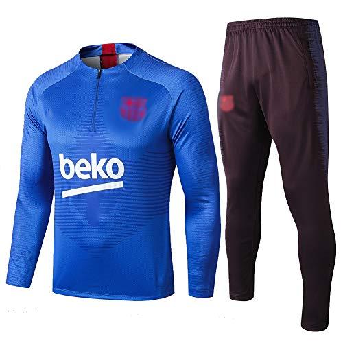 L-YIN Tire Jersey Suit Europa Football Club Training deportes al aire libre de los hombres de la mitad (Tops + Pants) - AG0368 Chándales (Color : Blue, Size : XL)