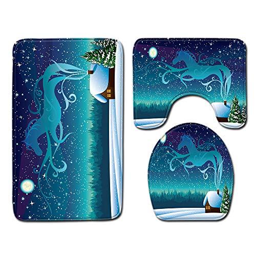 FGHJSF Alfombras de Baño Caballo Animal Cielo Estrellado 3 Alfombrillas de Secado rápido, Alfombra de baño de Secado rápido, Alfombra de Pedestal + Tapa de Inodoro + Alfombrilla de baño