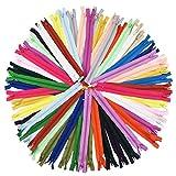 SUNREK 60 Cremalleras de Bobina de Nailon Mezclado para Costura, Manualidades, 20 Colores, 23 cm