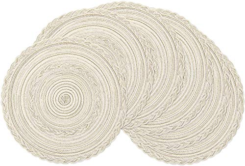 SHACOS Tovaglietta in Filato di Cotone,Set da 6 Tovaglietta Tessuta Rotonda Tovaglietta Lavabile Resistenti al Calore 38x38cm(Bianco Avorio)