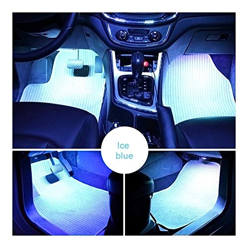 2 Piezas del coche LED Dash suelo for los pies luz de tira de mechero Ambiente adaptador de la lámpara decorativa interior Lámparas (Emitting Color : Ice Blue)