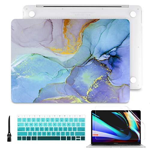 Batianda Hard Shell Case Cover for 2018 2019 2020 MacBook Air 13 inch Retina Display & Touch ID with Keyboard Cover & Screen Protector & Cleaning Brush (A2337 & A2179 & A1932 Model), Colorful Marble