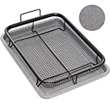 Home Icon Granite Copper Crisper Air Fryer Pan Non-Stick Tray with Crisping Basket 2pc Set