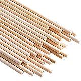 Varillas de madera para manualidades (30 unidades, 5 mm de diámetro, 20 cm de largo)