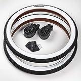 CST 2X Weißwand Reifen 20 Zoll + 2 AV-Schläuche/Autoschrader Ventil | 20 x 1.75 | 47-406 Schwarz - Weiß Decke Mantel Cruiser Klapprad