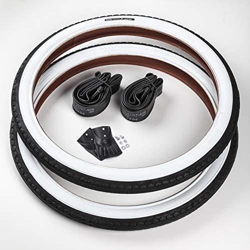 CST 2X Weißwand Reifen 20 Zoll + 2 AV/Autoschrader Ventil Schläuche | 20 x 1.75 | 47-406 Schwarz - Weiß Decke Mantel Cruiser Klapprad