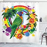 Juego de cortina de ducha de 183 x 182 cm, diseño de loro con palmeras y plantas, duradero e impermeable de secado rápido con 12 ganchos de plástico y alambre de plomo pesado