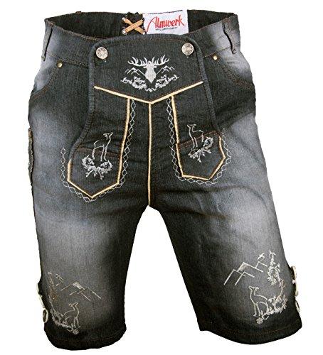 Almwerk Herren Trachten Jeans Lederhose kurz Modell Platzhirsch, Farbe:Schwarz;Lederhose Größe Herren:60