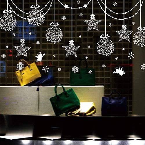 iwallsticker Weihnachtsschmuck zum Aufhängen Bälle Schillernde Sterne Schneeflocken und weiß Engel für Home Shop Fenster Überzügen Decor Wandaufkleber Aufkleber Urlaub Celebration Presents