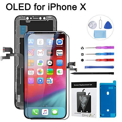 Beefix Reemplazo de Pantalla para OLED iPhone X Digitalizador de Pantalla Táctil OLED 3D Ensamblado con Kit de Reparacion Incluye Vidrio Templado y Kit Completo de Herramientas