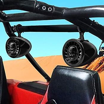 GoHawk AS5-X Gen.3 All-in-One 600W Built-in Amplifier 5  Full Range Waterproof Bluetooth ATV RZR UTV Stereo Speakers Audio Amp System USB AUX 1.5 to 2  Rollcage Bar Polaris 4 Wheeler Can-Am