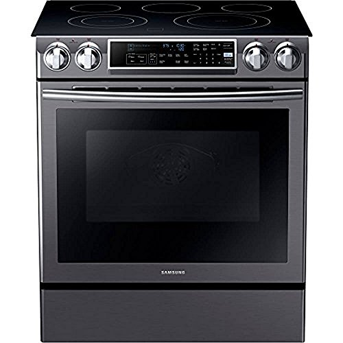 """Samsung NE58K9500SG 30"""" Slide-in Electric Range with Smoothtop Cooktop, 5.8 cu. ft. Primary Oven Capacity, in Black Stainless Steel"""