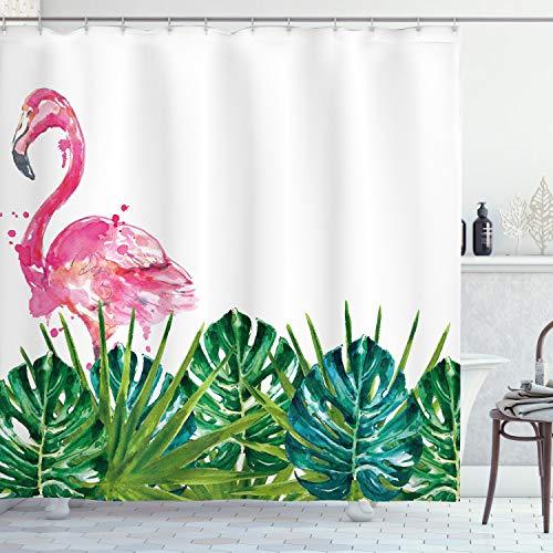 ABAKUHAUS Tropisch Duschvorhang, Exotische Natur Flamingo, Set inkl.12 Haken aus Stoff Wasserdicht Bakterie & Schimmel Abweichent, 175 x 220 cm, Grün Pink Blau