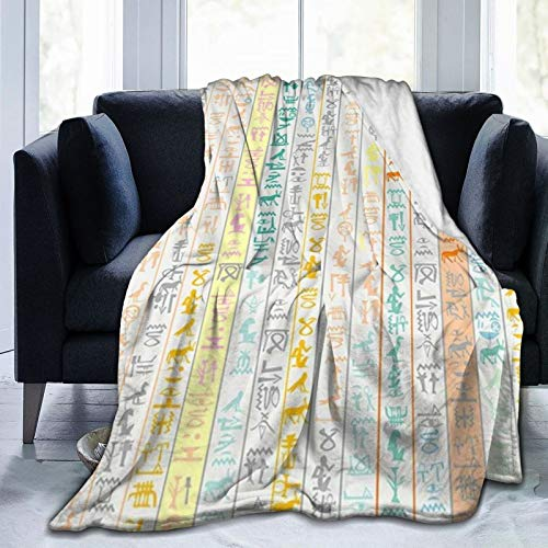 TARTINY Símbolos del Alfabeto de jeroglíficos egipcios del Antiguo Egipto Twin/Double (150x200cm) Manta de Franela Ligera y cálida Suave y cálida para Cama o sofá