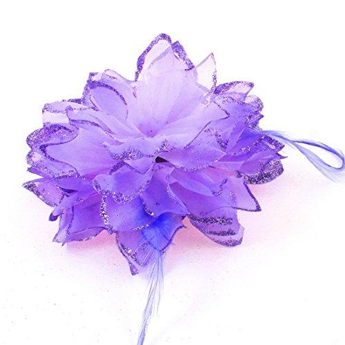 DyniLao Rubber Flower Bling Women Hair Band Ponytail Holder, Light Purple, 0.03 Pound