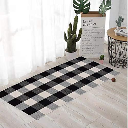 "Buffalo Check Rug Black and White Plaid Rugs Cotton Hand-Woven Checkered Carpet Washable Braided Kitchen Rugs,Mat, Doormat Hand-Woven Checkered Rug (24"" x 51"", Buffalo Check B) Kansas"