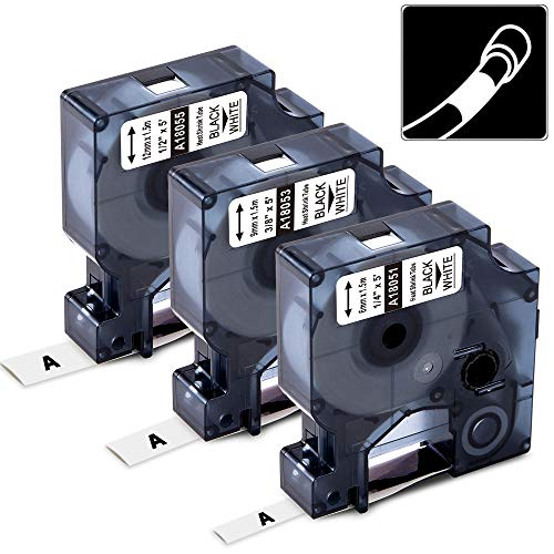 3-Pack Compatible Label Tapes Replacement for DYMO 18051 18053 18055 (1/4