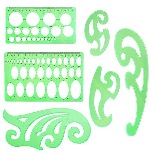 INTVN Plantillas de dibujo Plastico Regla Círculos Ovalado Curva Plantillas para Oficina y Escuela 6 piezas