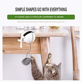 SOOTOP Jouet de Chat électronique, Jouet de Teaser de Chat de Mouvement Yo-Yo Ballon de Levage Flutter électrique Rotation Puzzle interactif -Smart Pet Cat Ball Toy