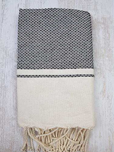 Miktex Toalla Fouta Rio, XL 100 x 200 cm, 100% algodón, 380 g Suave, Flexible, Absorbente y Ligera. Toalla de Playa, Mantel, sofá, Colcha, paréo, Picnic (Crudo, Negro)
