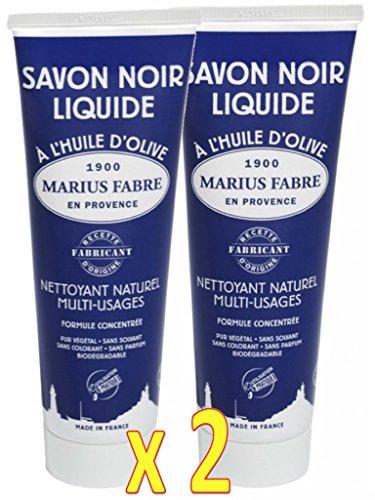 Marius Fabre - SAVON NOIR LIQUIDE à l'HUILE d'OLIVE - Nettoyant Naturel Multi-Usages - Lot de 2 Tubes de 250 ml