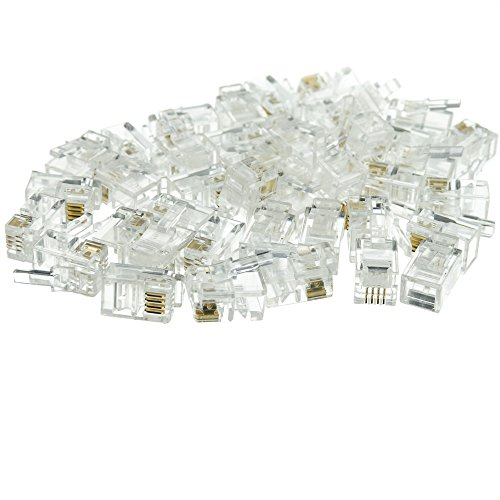 CLASSYTEK Phone/Data RJ22 Crimp Connectors for Flat Cable, 4P4C, 100 Pieces