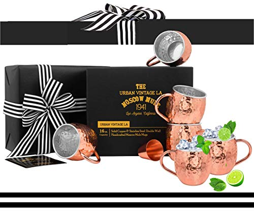 Moscow Mule Copper Mugs Set of 4 with Shot Glass & Recipe Book in Large Gift Box, Premium Handcrafted Food-Safe Hammered 16 oz Real Copper Cups for Moscow Mules, Solid Copper Luxury Gift Set