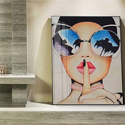 YHZSML Moderna Decorativa Domestica Nordic Wall Beauty Girl con Occhiali Immagine su Tela per Camera da Letto No Frame 50x75cm C