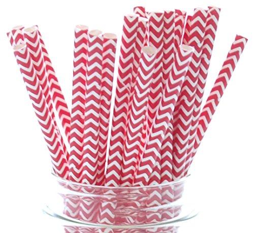 Red Chevron Paper Drinking Straws | 25 Pack