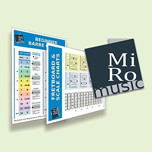 A5 Beginners/Learners Guitar Barre Chord Chart & Basic Guitar Scales Card162