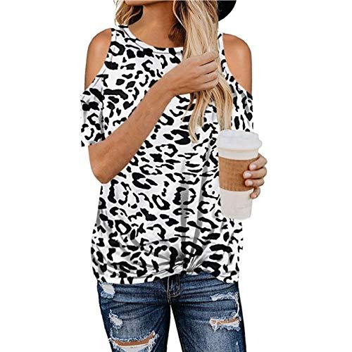 SLYZ Primavera Y Verano De Las Mujeres Personalidad Moda Leopardo Fuera del Hombro De Manga Corta Retorcida Camiseta Corta De Las Mujeres