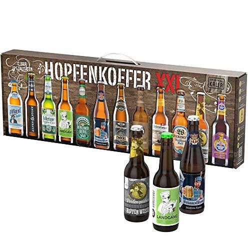 Beer Tasting Box | Geschenk-Idee | Papa | Männer | Bier-Spezialitäten von Privatbrauereien | mit Henkel | Geburtstag (Hopfenkoffer 12x0,33l)