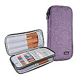 ProCase Trousse Double (Pas d'Accessoires Inclus) pour Accessoires et Outils de Crochet, Petit Sac pour Crochet Aiguille Tricot Circulaire (jusqu'à 28 cm)-Violet