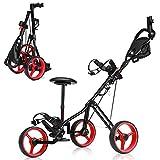 GYMAX 3 Wheel Golf Push Cart, Folding Golf Pull Trolley with Drink Holder Seat Scoreboard Bag, Lightweight Push Pull Golf Cart (Red)