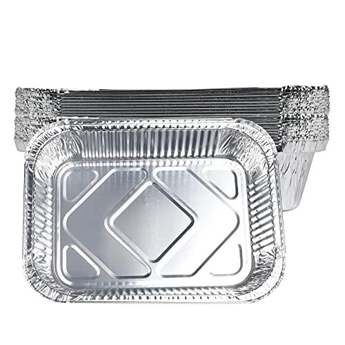 Bandejas de Papel Aluminio Desechables, 20Piezas Bandejas de Goteo de la Parrilla, Bandeja Rectangular de Aluminio con Tapa, 1900 ml, para Hornear, Asar, cocinar, almacenar Alimentos (20 piezas)
