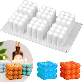 Moules Bougies, Moule 3D Cube Boule Silicone, pour la Fabrication de Bougies, Savon, Gâteaux, Chocolats, Partie Décoration...
