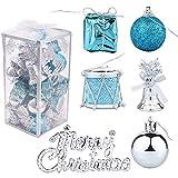 YOUYIKE Adornos de Navidad Decoracion Arboles de Navidad Bolas de Plastico, 32 Piezas en 6 Tipos Incluye Caja de Regalo Balls Bells Drum para Navidad Decoracion (Blue)