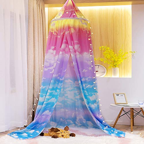 Mengersi Princess Bed Canopy Play Tent for Kids Girls,Cloud Sky Mosquito Net,Rainbow Castle Hanging House Decoration Reading Nook (Pink and SkyBlue)